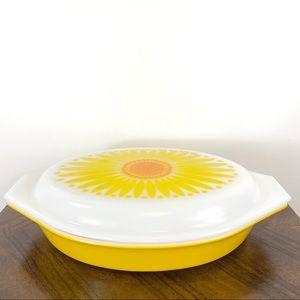 Vintage Pyrex Daisy Sunflower Duet Casserole Dish
